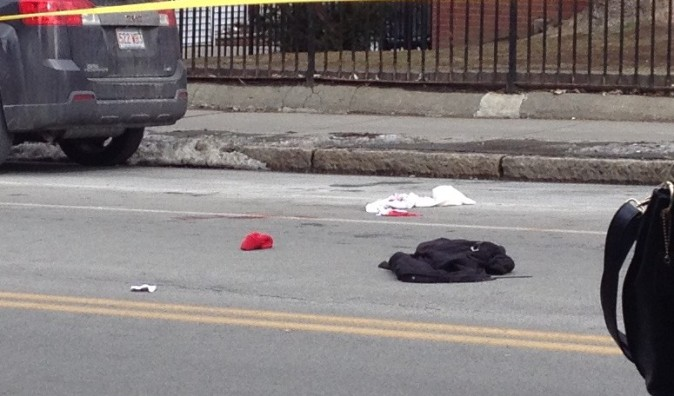 Bloodied clothes on Harvard Street